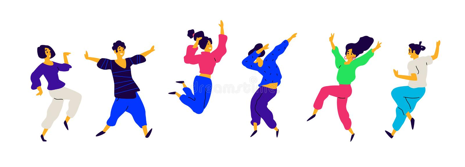 Dancing and fun people, positive emotions. Vector. Illustrations of males and females. Flat style. A group of happy and joyful. Teenagers. Shapes are isolated royalty free illustration