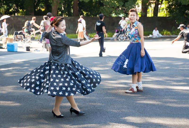 Dancing giapponese nella sosta di Yoyogi, Giappone immagini stock