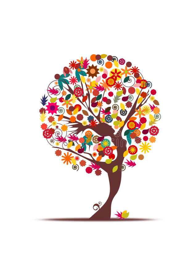 Download Dancing girl autumn tree stock illustration. Image of artistic - 27193122