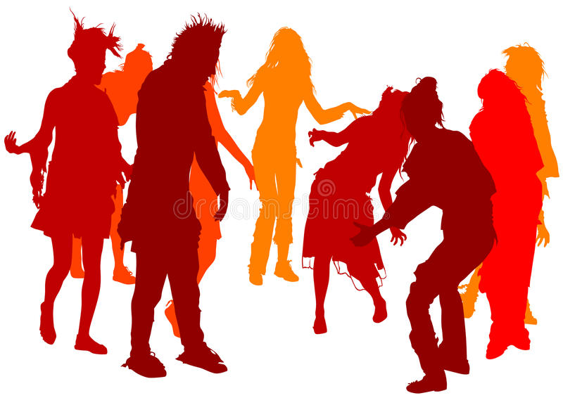 Download Dancing girl crowd stock vector. Image of girls, painting - 10763708