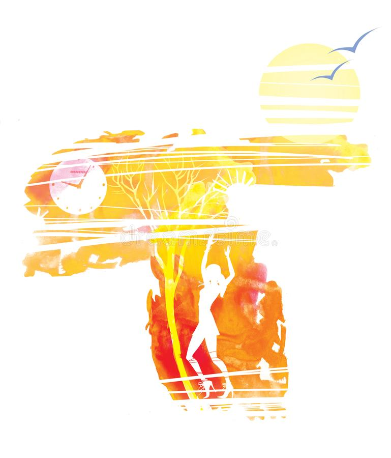 Dancing girl. Depressive autumn landscape. Leafless trees and clocks. Sun and lonely birds vector illustration
