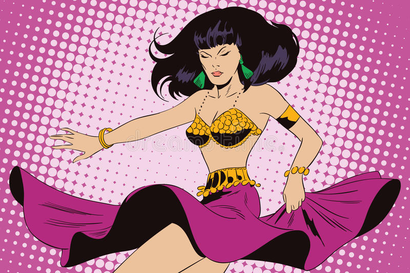 Dancing girl. Eastern dance. People in retro style. royalty free illustration