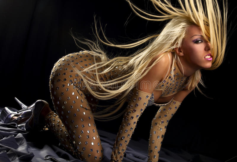 Download Dancing Girl With Great Fly-away Hair Stock Image - Image: 14405429
