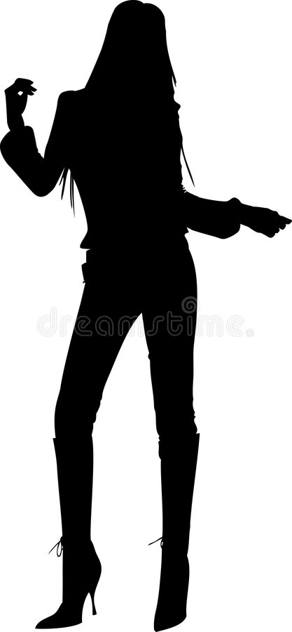 Dancing girl silhouette stock photography