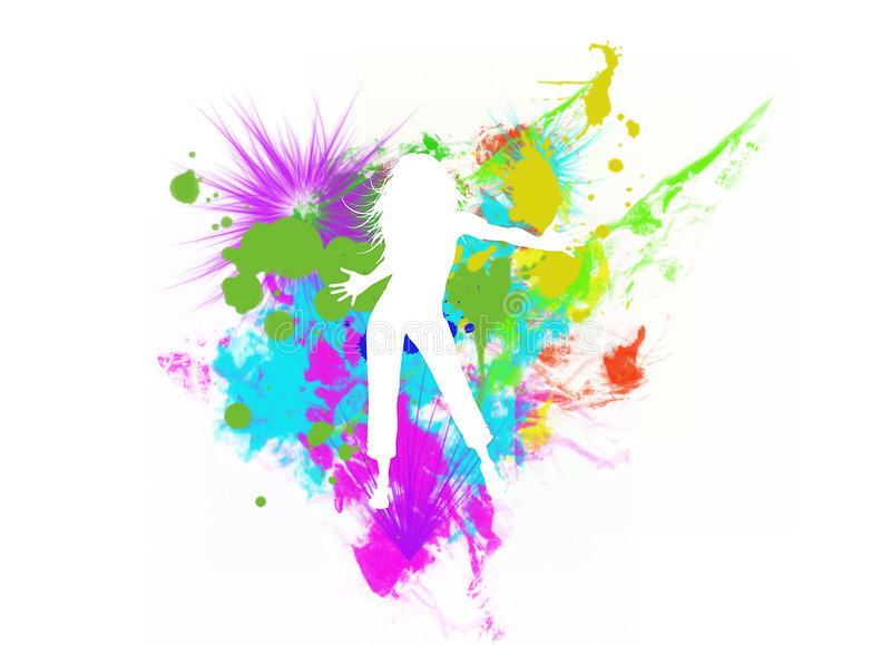 Dancing girl silhouette vector illustration