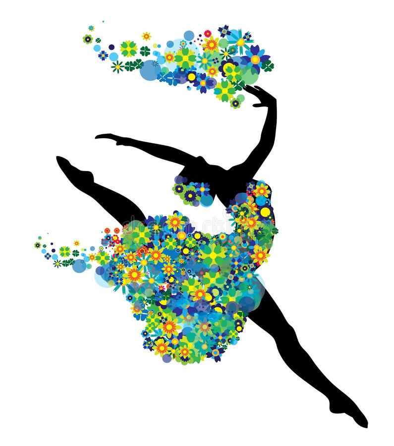 Dancing girl silhouette with green and blue flowers and circles royalty free illustration