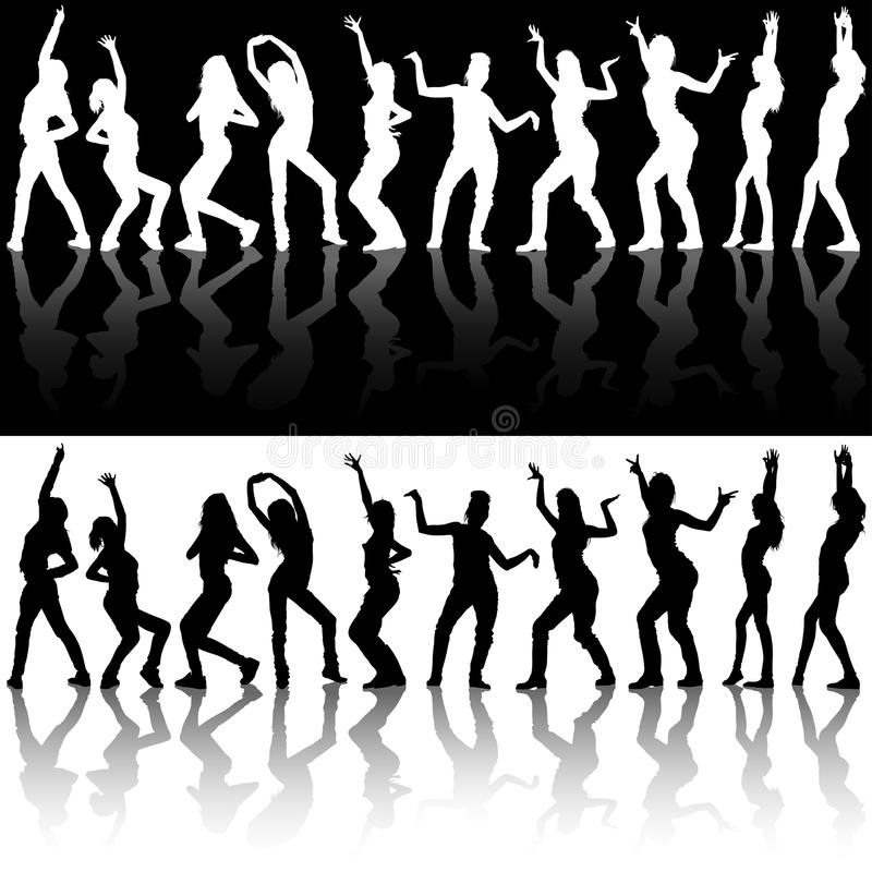 Dancing Girl Silhouettes stock illustration