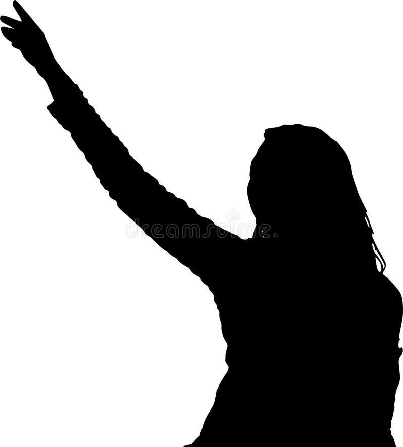 Dancing girl silhouettes shadow model  figure stock illustration
