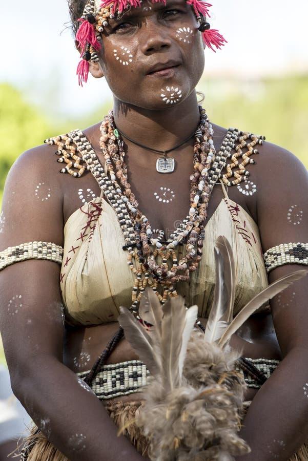 Dancing Girl Solomon Islands with handmade traditional costume royalty free stock photo