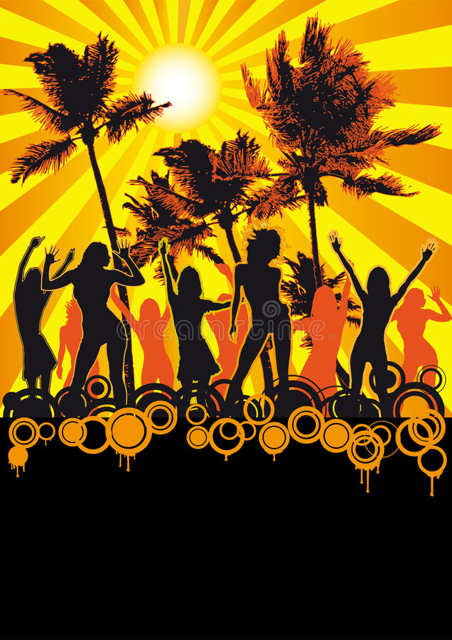 Dancing Girls Beach Disco Party Flyer Palms royalty free stock photo