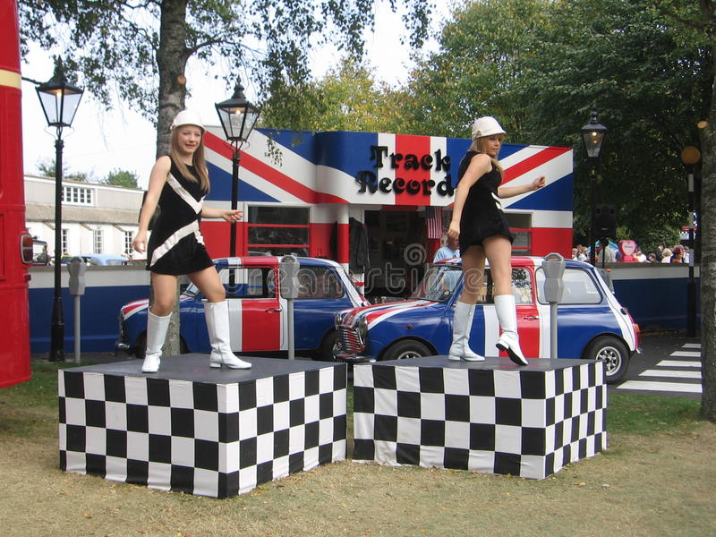 Dancing girls at the Goodwood Revival stock images