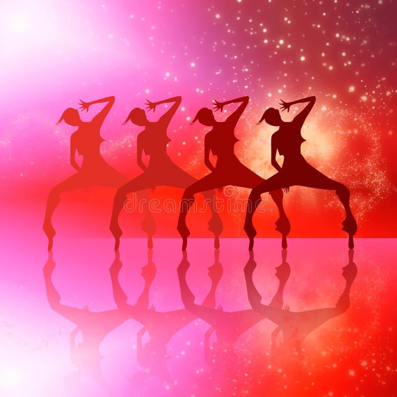 Dancing girls silhouette illustration. Club dancing girls silhouettes on red galaxy background illustration stock illustration
