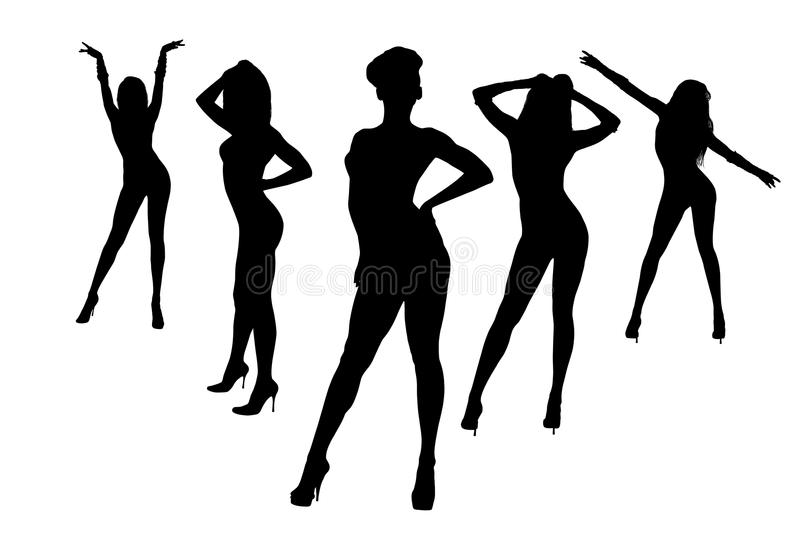 Silhouette Dance Music Abstract Background: Dancing Girls Silhouette Stock Illustration. Illustration