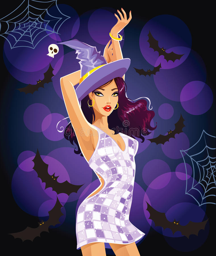 Dancing Halloween witch royalty free stock images