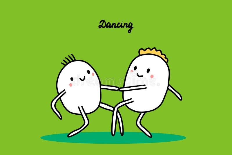 Dancing hand drawn vector illustration with cute cartoon people. Lindy hop or boogie jam. Fun joy stock illustration