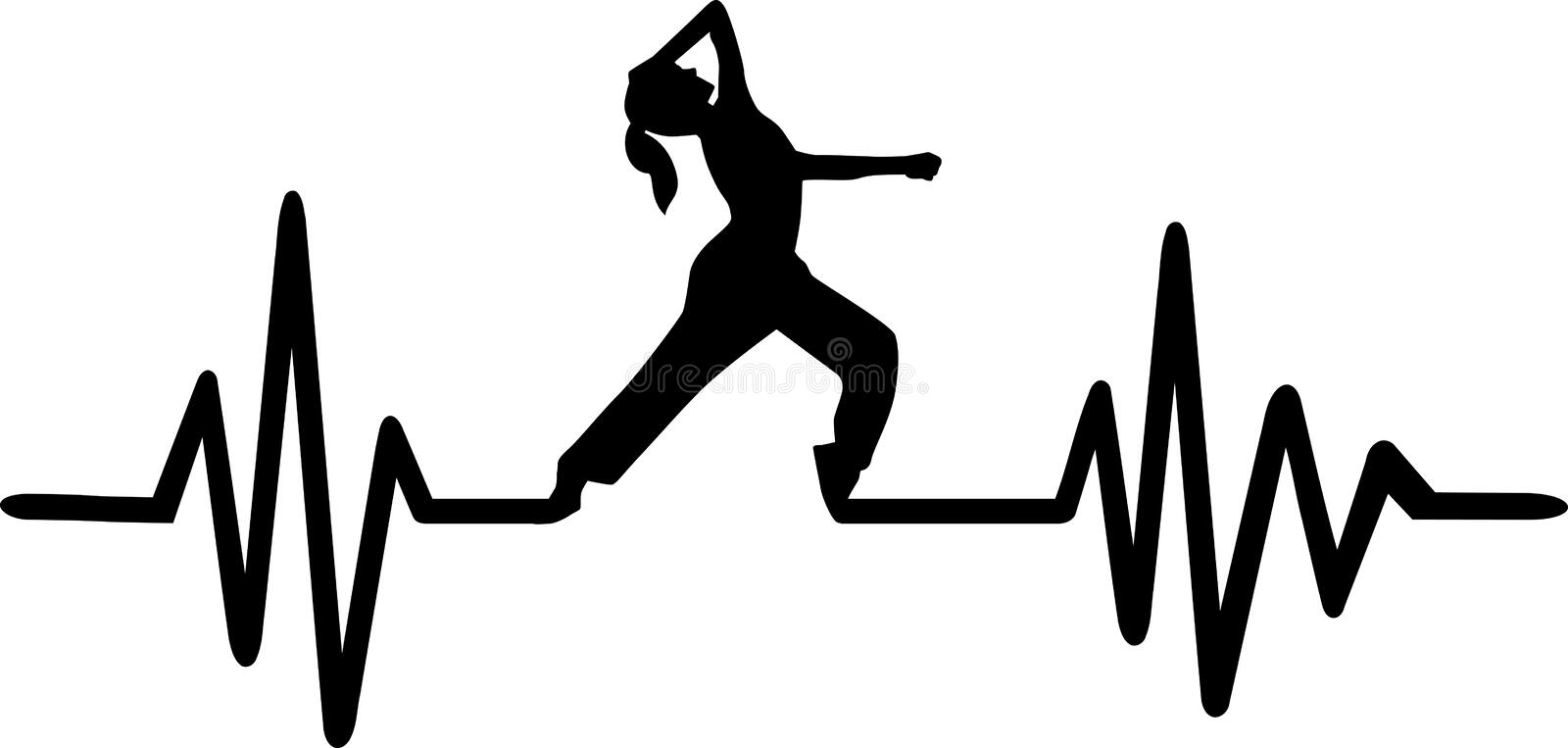 Dancing heartbeat pulse. Heartbeat pulse line with jazz dancer royalty free illustration