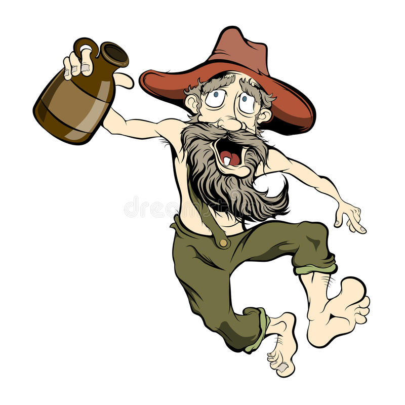 Dancing Hillbilly. Old dancing hillbilly with a jug of moonshine