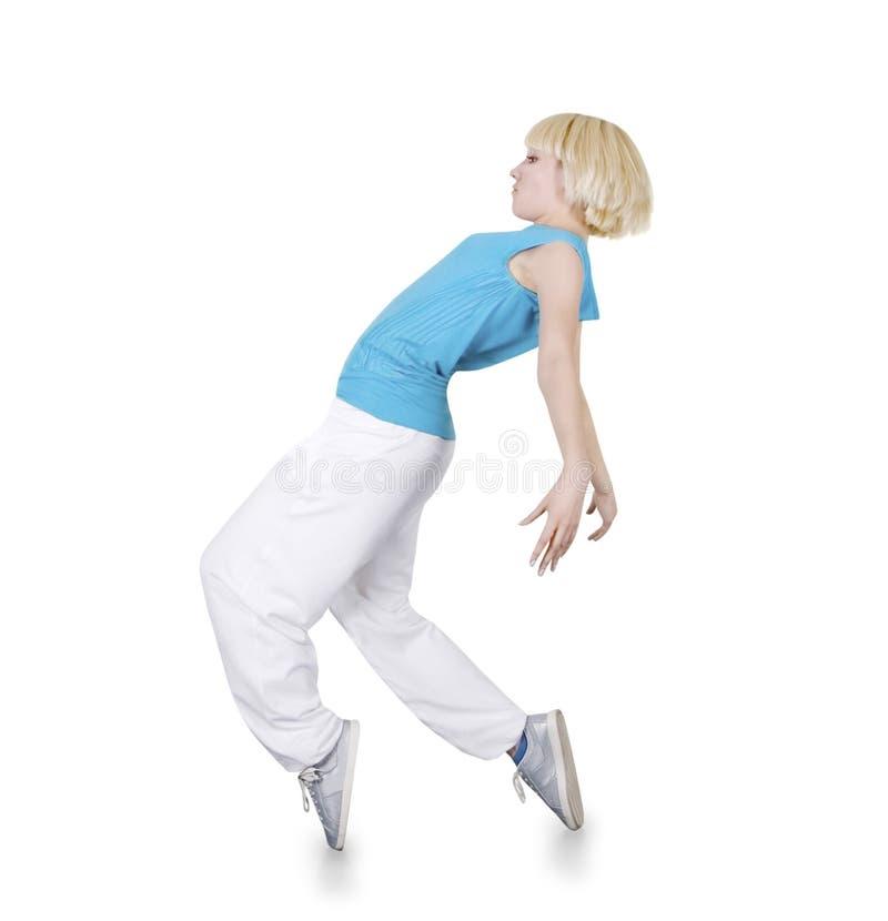 Dancing hip-hop dell'adolescente sopra il bianco fotografia stock