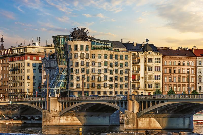 Dancing house and the bridge nearby, Prague, Czech Republic royalty free stock photography