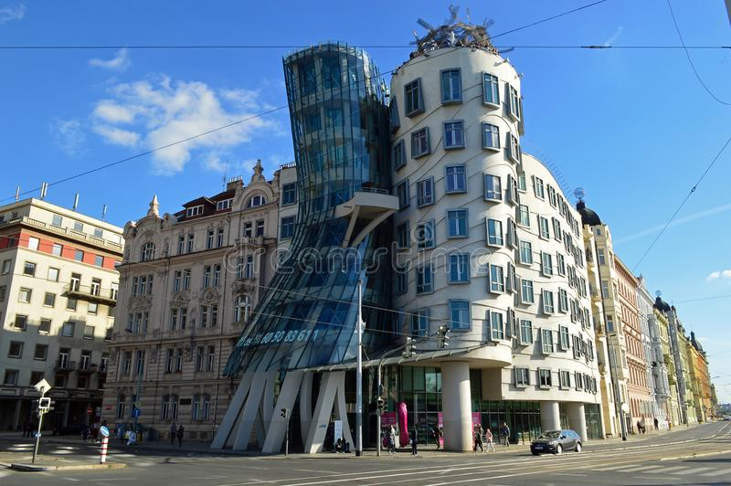Dancing house by Frank Gehry in Prague. Dancing house or Fred and Ginger building in downtown Nove Mesto, New Town area. Prague, Czech Republic royalty free stock images