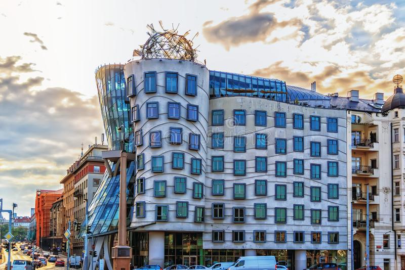 Dancing House or Fred and Ginger building in Prague stock photography