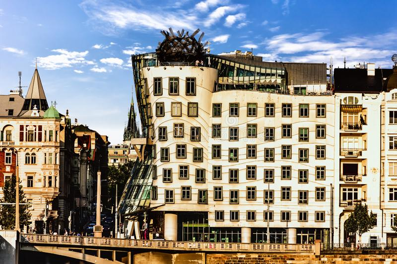 Dancing House of Prague, Czech Republic, view from the other ban royalty free stock photo