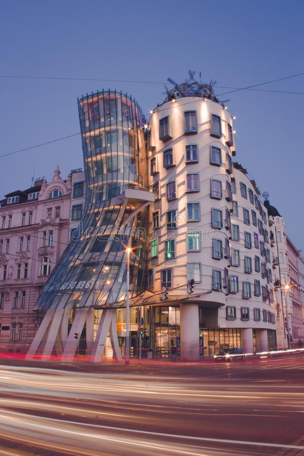 The Dancing house in Prague - long exposure stock photography