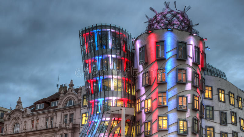 The Dancing House in Prague. Scenic view of the Dancing House in Prague illuminated at night, Czech Republic stock photography