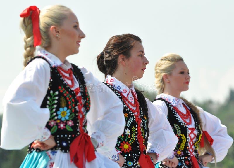 Dancing Hungarian girls. Young Hungarian girls perform at Edmonton's Heritage days stock image