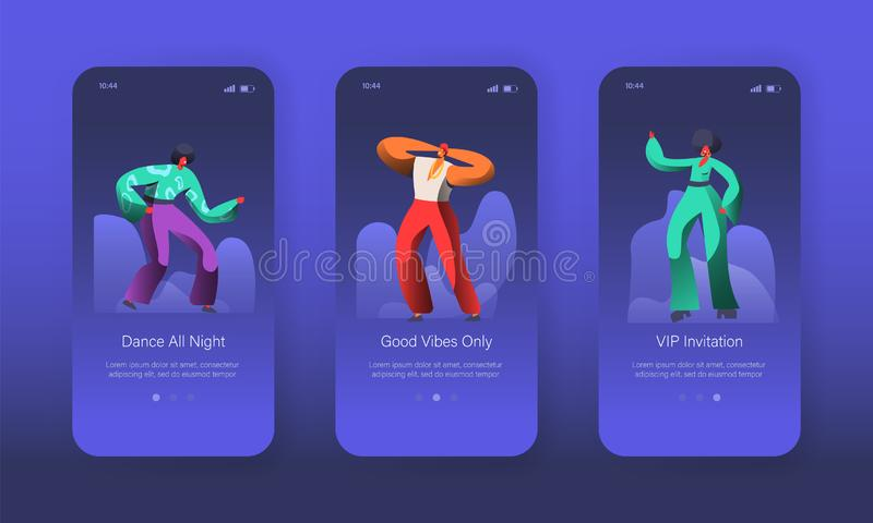 Dancing Jazz Characters Landing Page Set. Joyful Man and Woman have Fun. Music Club Dancer Concept for Website Web Page. Dancing Disco Characters Landing Page vector illustration