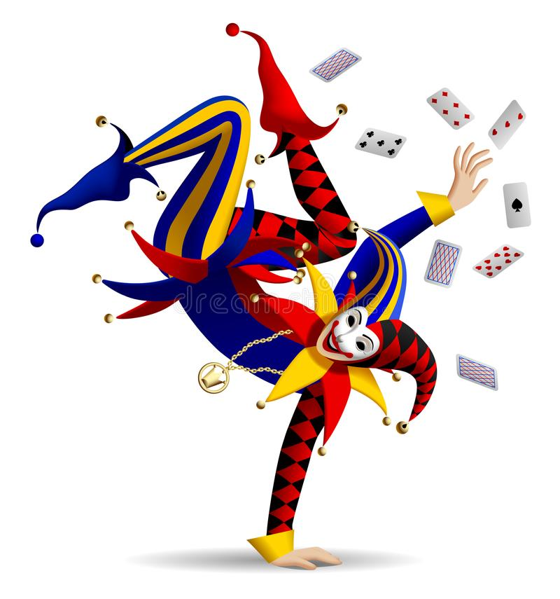 Dancing Joker with playing cards on white vector illustration