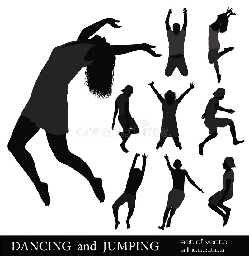 DANCING and JUMPING. stock illustration