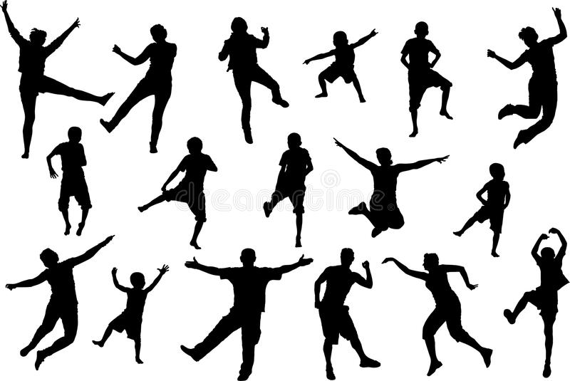 Dancing, jumping childrens and adult people, beach party silhouette set royalty free illustration
