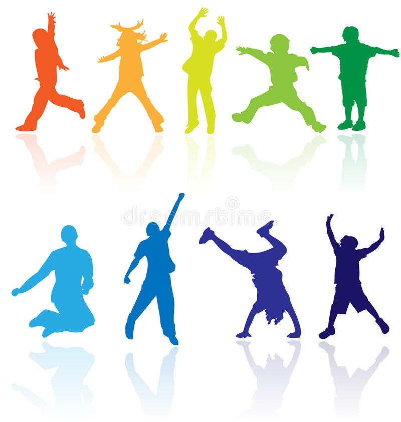 Group of happy school active children silhouette jumping dancing playing running healthy kids child kid kinder action youth play. Vector colored silhouettes with vector illustration