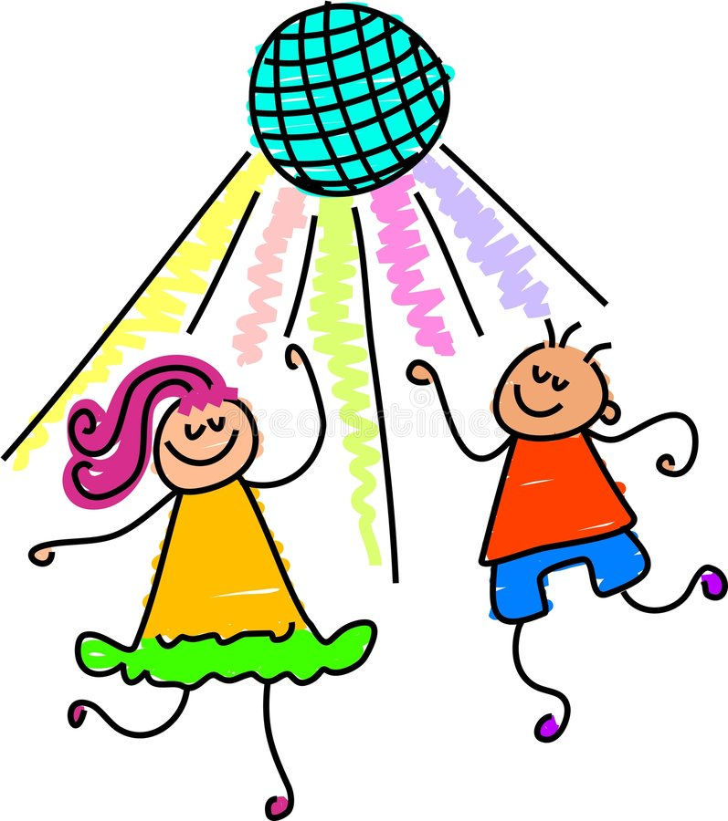 Dancing kids vector illustration