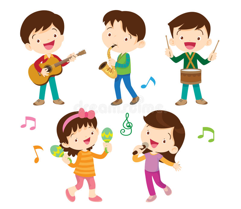 Dancing kids and kids with musical stock illustration