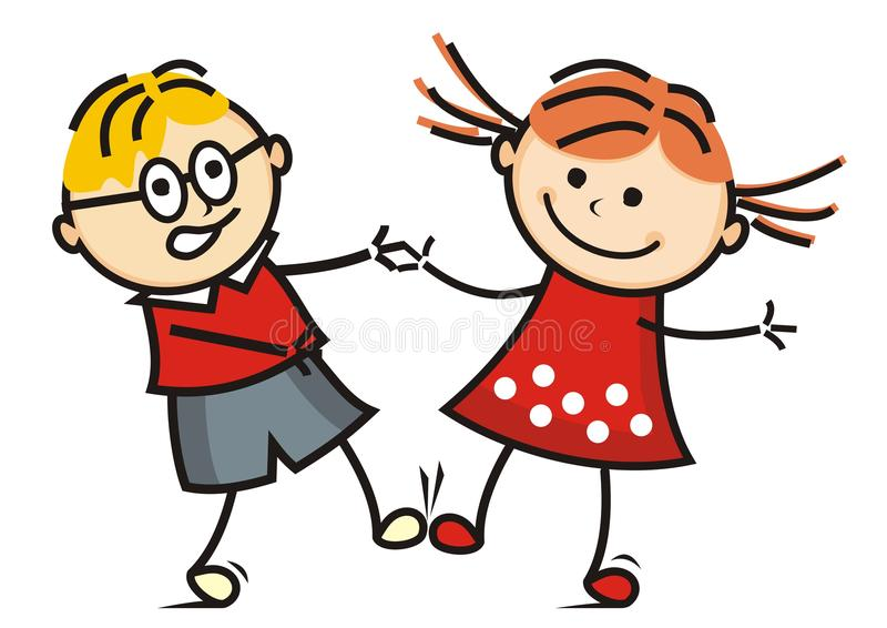 Download Dancing Kids Vector Icon Funny Illustration Stock