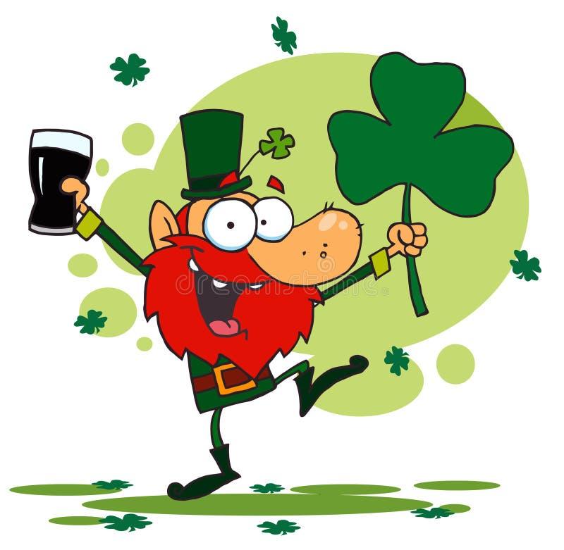 Dancing Leprechaun Holding A Shamrock And Beer Royalty ...