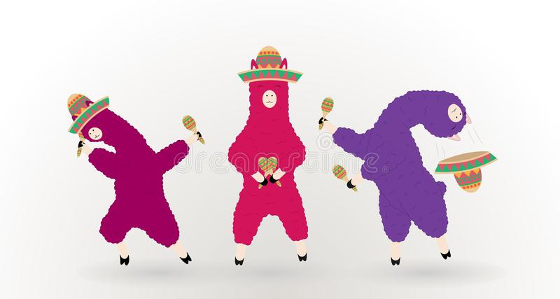 Dancing llamas in a Mexican hat with maracas. Vector Illustration EPS10 royalty free illustration