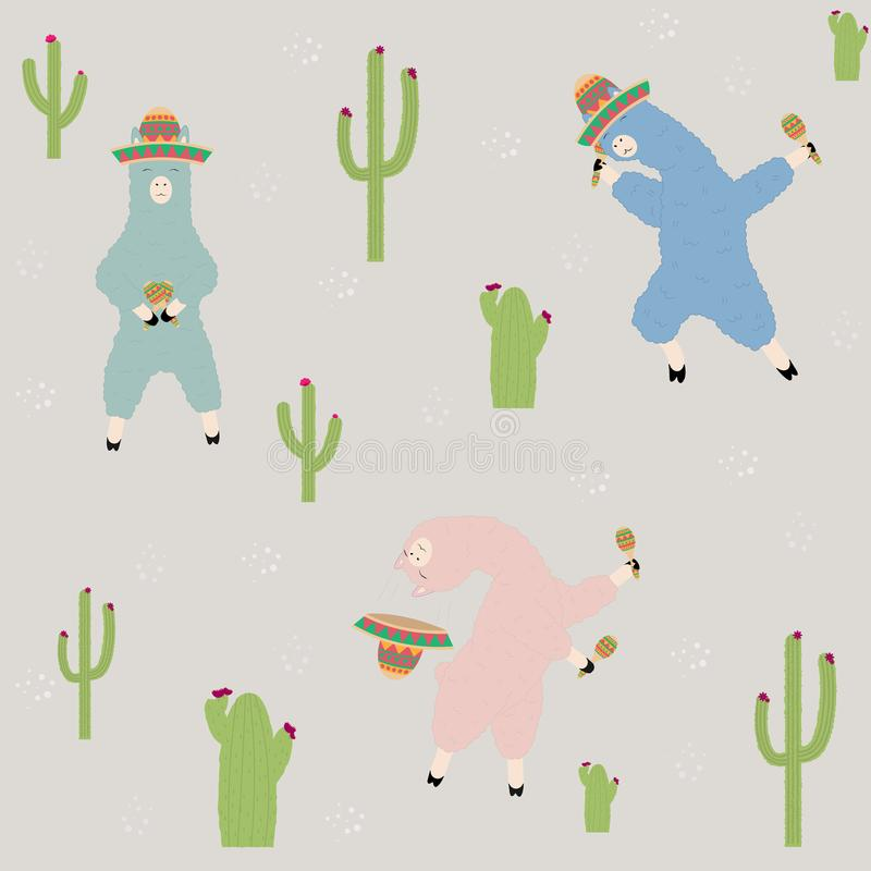 Dancing llamas in a Mexican hat with maracas. Vector Illustration EPS10 stock illustration