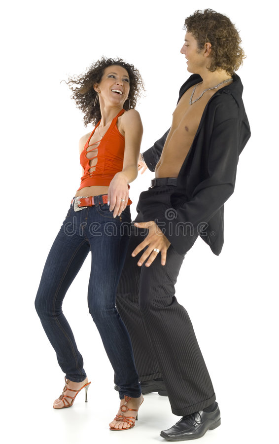 Dancing lovers. Dancing couple of young people. Smiling and looking at each other. Man has got naked chest. White background, whole body