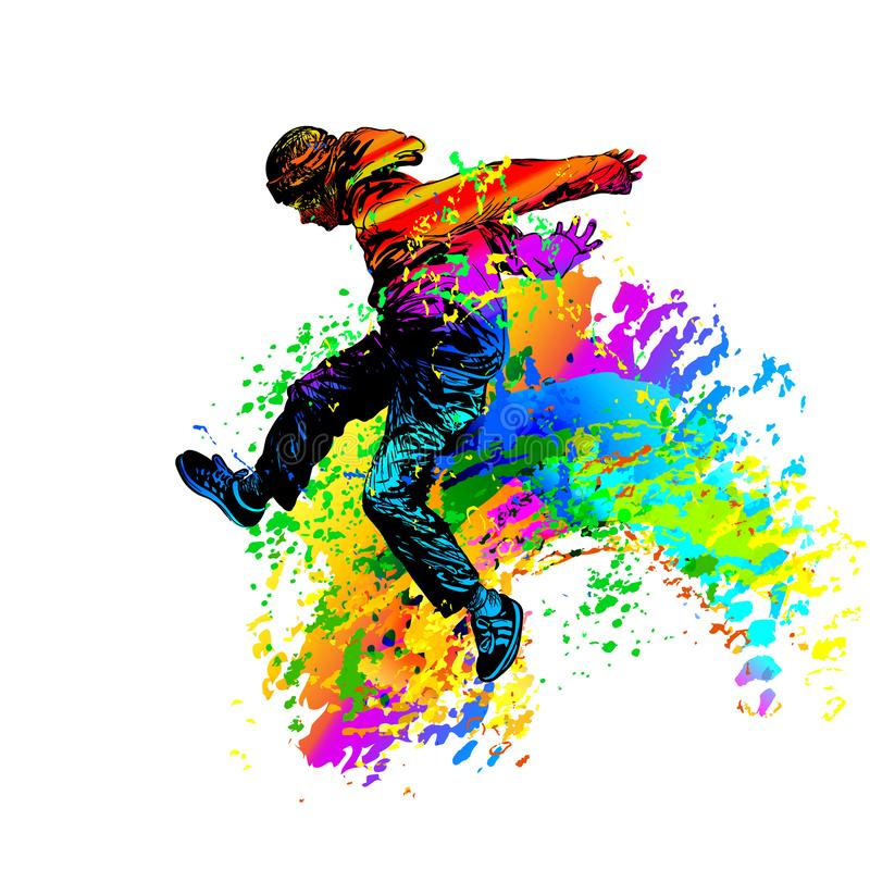 Free Dancing Man Boy Jumping With Color Splashes On White Background. Vector Illustration Stock Photo - 168091920