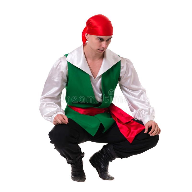 Dancing man wearing a pirate costume. Isolated on royalty free stock photos