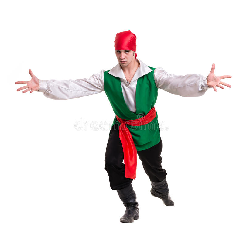 Dancing man wearing a pirate costume. Isolated on. White background in full length stock images