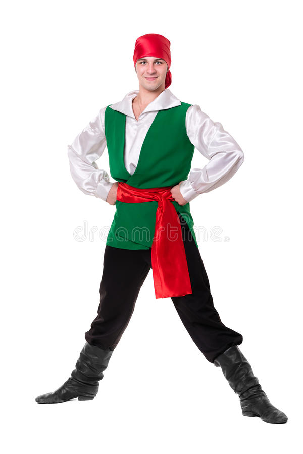 Dancing man wearing a pirate costume. Isolated on royalty free stock images