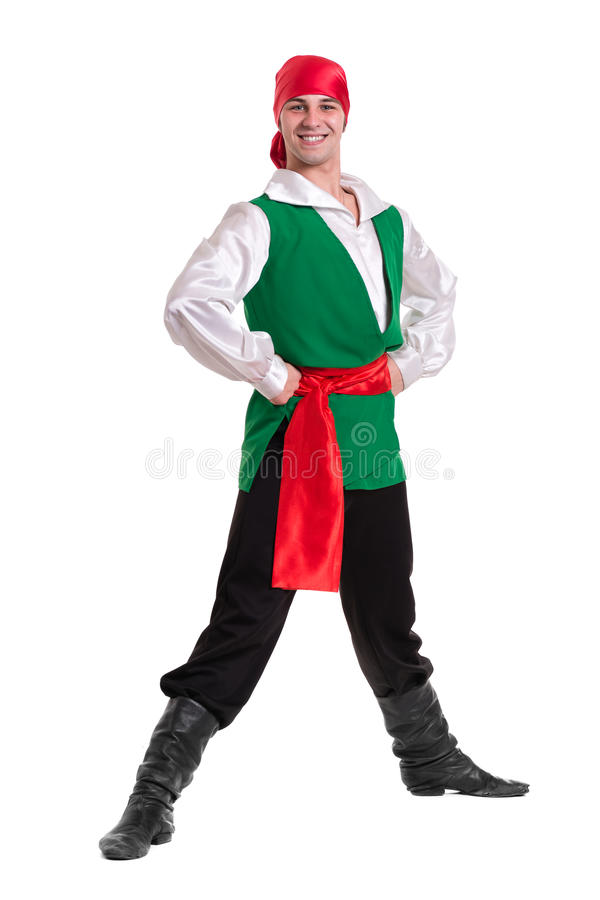 Dancing man wearing a pirate costume. Isolated on. White background in full length stock photos