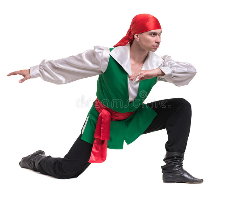Dancing man wearing a pirate costume, isolated on white in full length. Dancing man wearing a pirate costume, isolated on white background in full length stock images