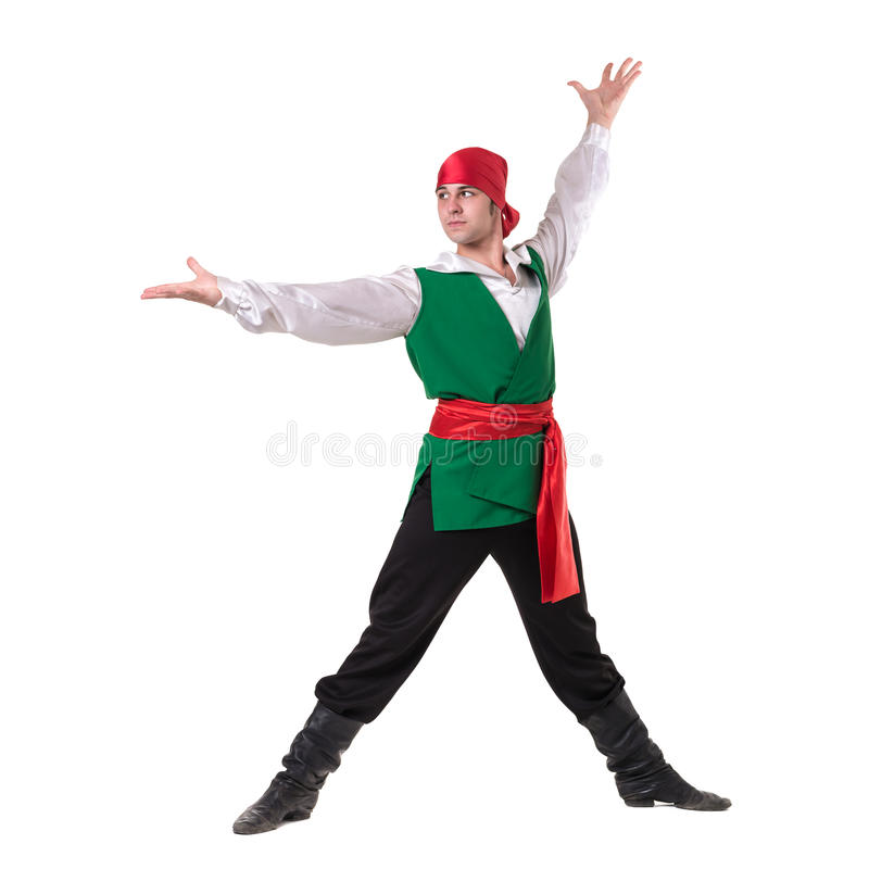 Dancing man wearing a pirate costume, isolated on white in full length. Dancing man wearing a pirate costume, isolated on white background in full length royalty free stock photo