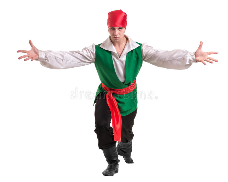 Dancing man wearing a pirate costume. Isolated on white in full length. Dancing man wearing a pirate costume. Isolated on white background in full length royalty free stock photography