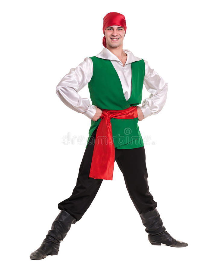 Dancing man wearing a pirate costume. Isolated on white in full length. stock photo